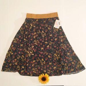 Floral tan/beige LuLaRoe Lola skirt NWT small